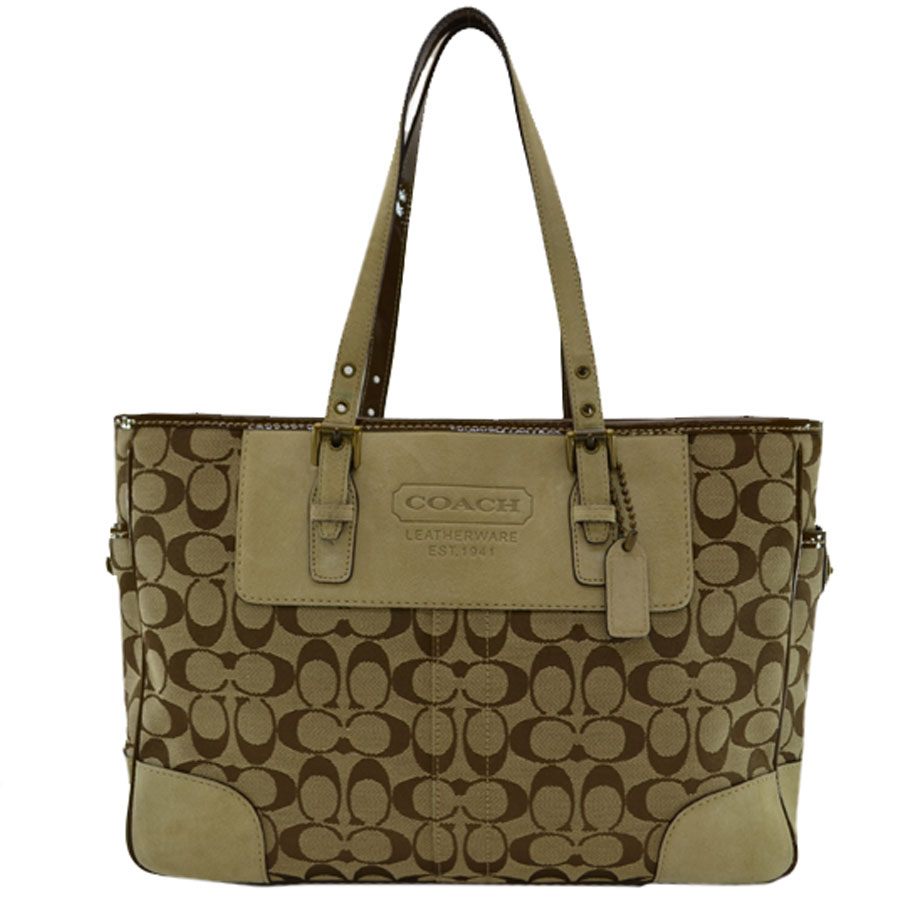 Coach  COACH  shoulder bag tote bag signature Lady s beige x brown canvas x  suede x patent leather  used  constant seller popularity 6c84e577b30c0