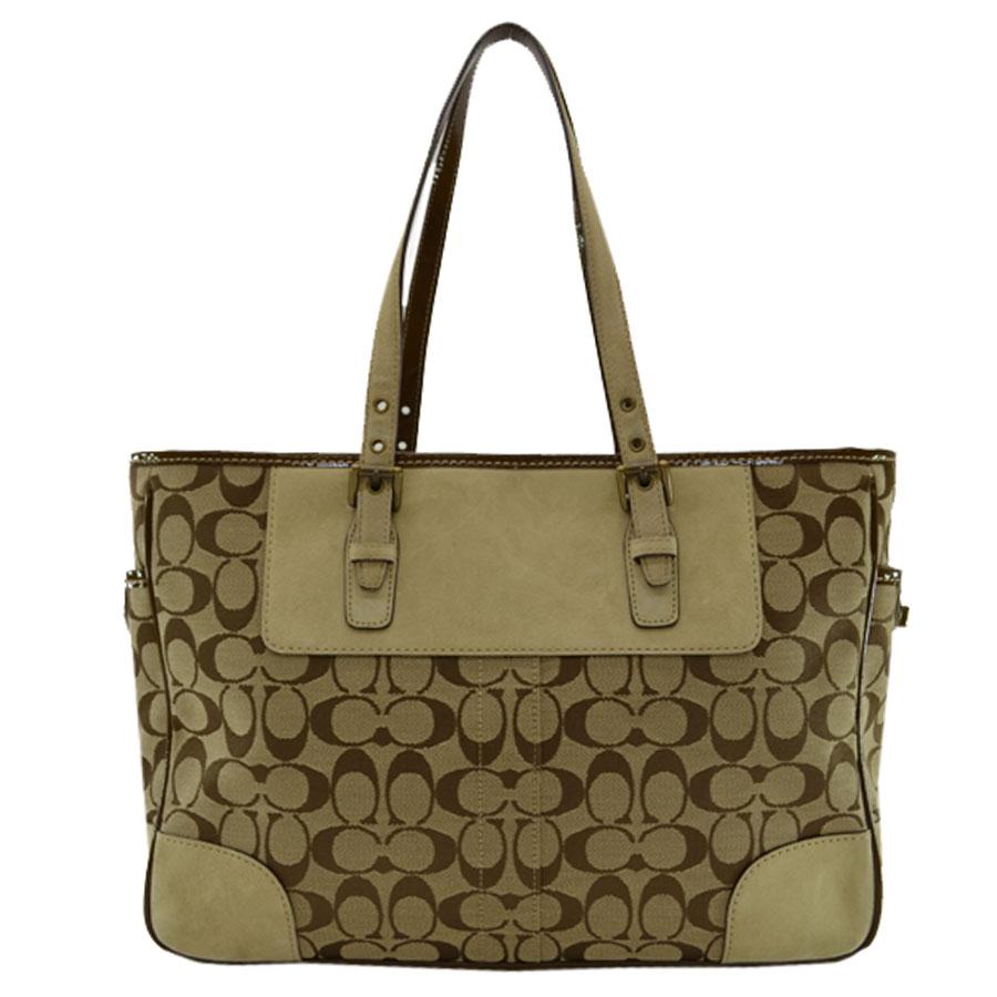 Coach COACH shoulder bag ◇ beige x brown canvas x suede x patent leather ◇  constant seller popularity tote bag signature ◇ Lady s - k7491 e3f4b371a21c3