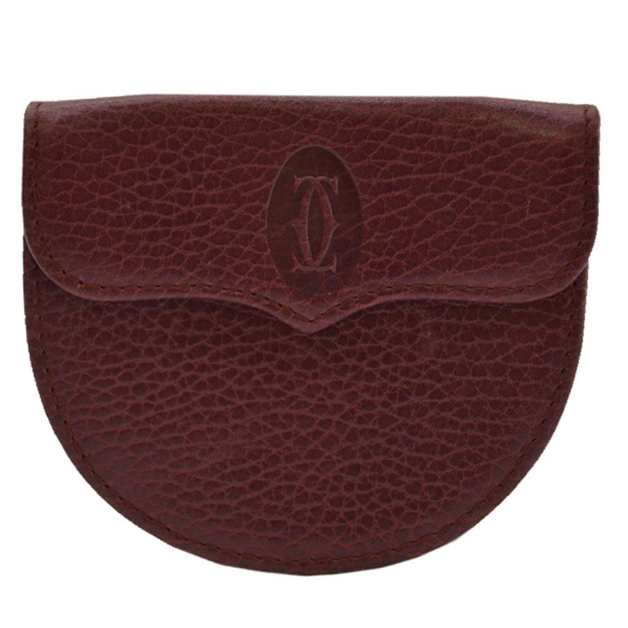 Cartier Cartier coin case ◆ Bordeaux leather ◆ constant seller popularity mast line ◆ Lady's men - k7544