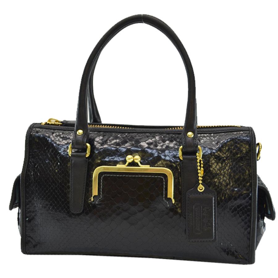 コーチ COACH ハンドバッグ ◆ブラックxゴールドカラー レザーx金属素材◆定番人気【中古】 ◆レディース - k7549