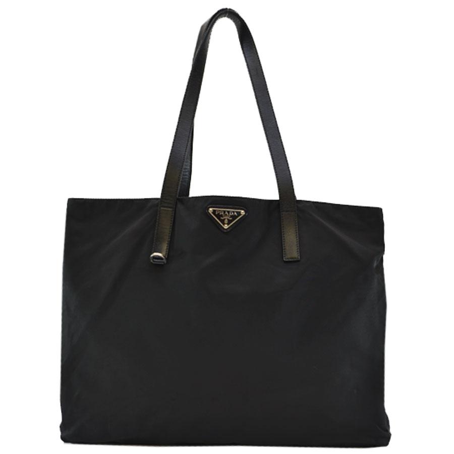 8a5dbc92edaa  basic popularity   used  a Prada  PRADA  shoulder bag tote bag triangle  plate Lady s NERO (black) x silver Karana irone x metal material