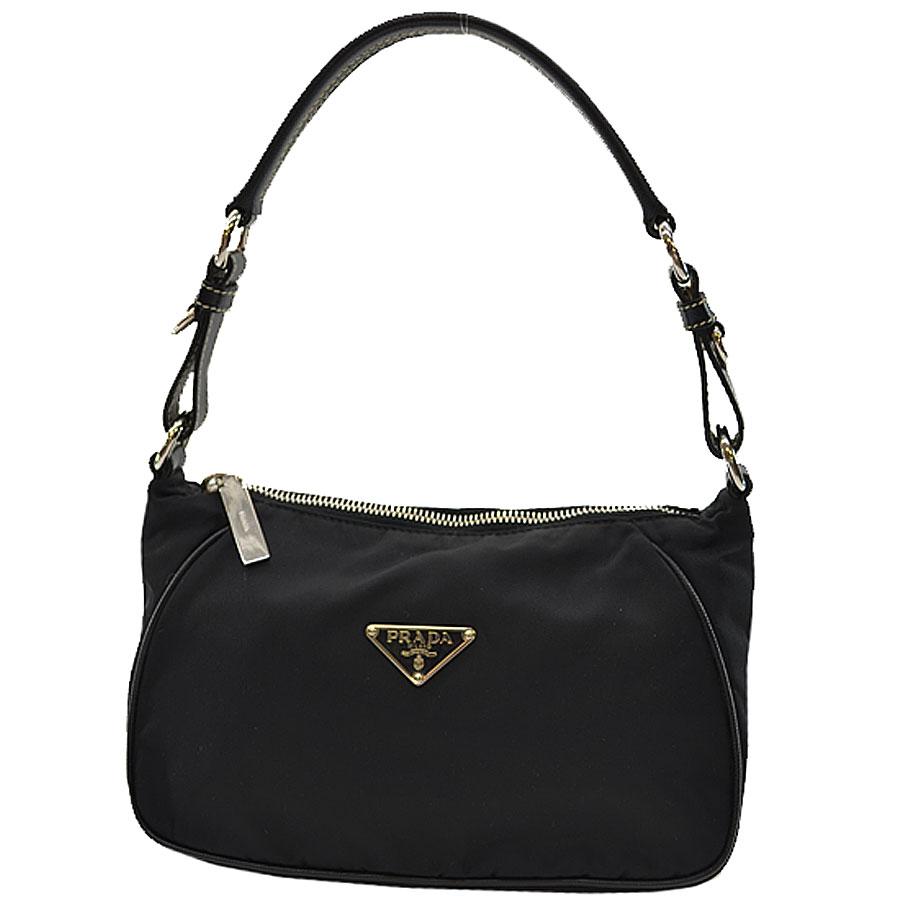 b169774d685a  used  Prada  PRADA  triangle plate mini-shoulder bag Lady s NERO (black) x  silver Karana irone x leather x metal material constant seller popularity