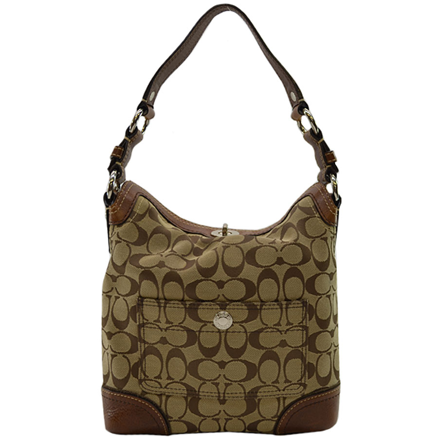 Coach Shoulder Bag Signature Pattern Brown X Silver Color Canvas Leather Metal Material Lady S K8102