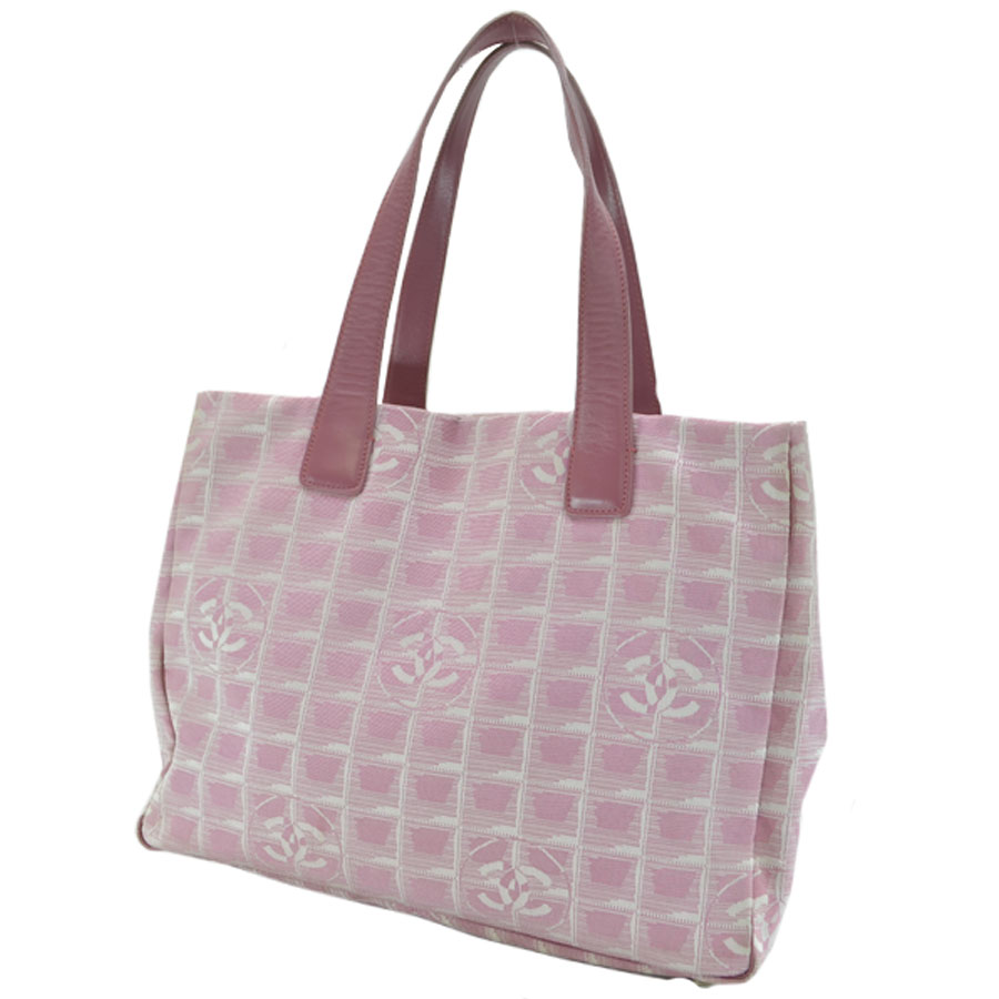 c472dc26f8da92 [basic popularity] [used] Chanel [CHANEL] current style bell line tote bag  shoulder bag Lady's pink nylon jacquard x leather