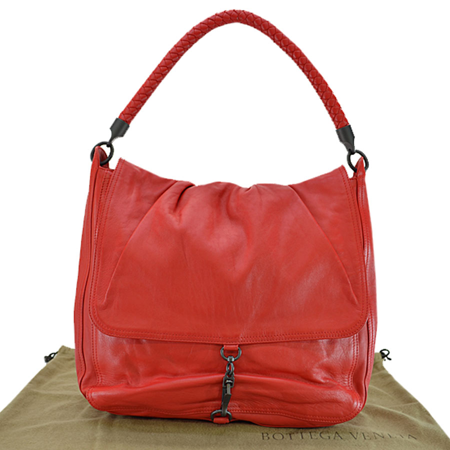 13bd975416640 BrandValue: ボッテガヴェネタ BOTTEGA VENETA shoulder bag red x black leather x  metal material Lady's - r6219   Rakuten Global Market