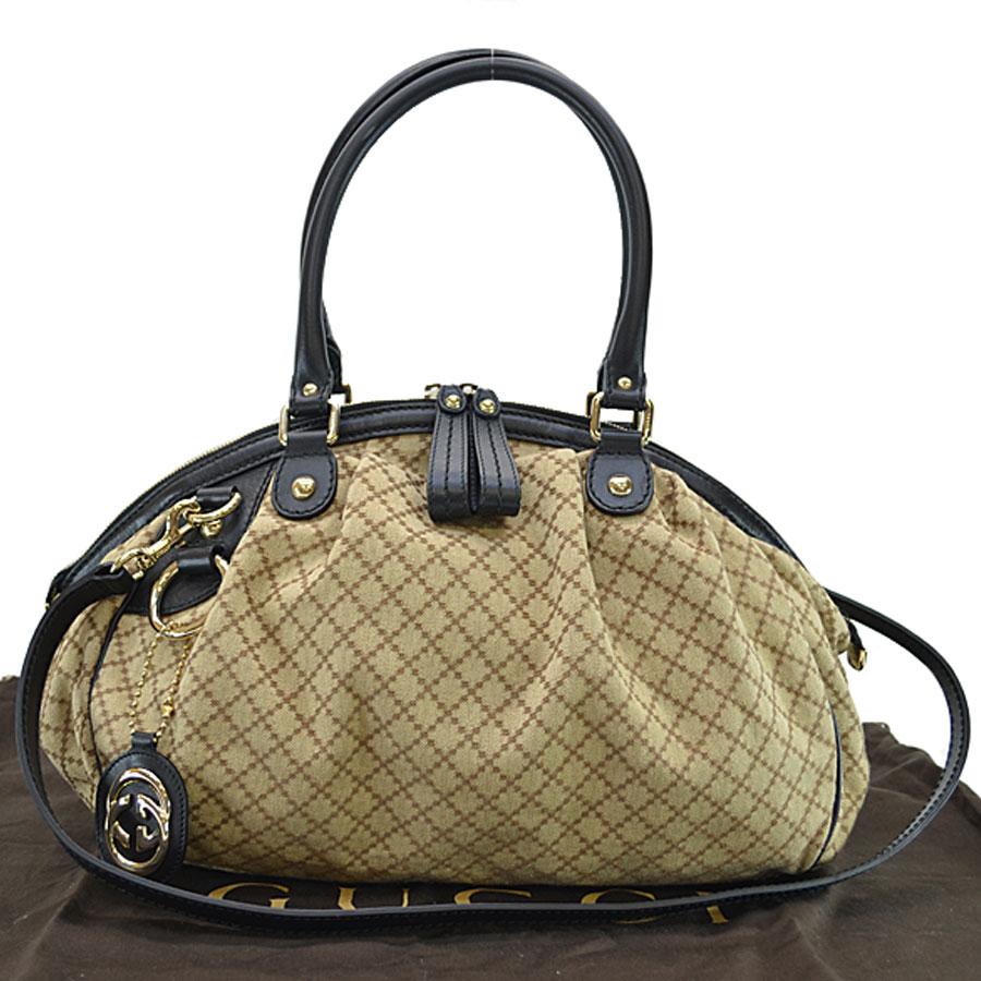 13a8297994f9d3 BrandValue: Gucci GUCCI handbag Diamante brown x black canvas x leather  shoulder bag 2Way bag lady - r6223 | Rakuten Global Market