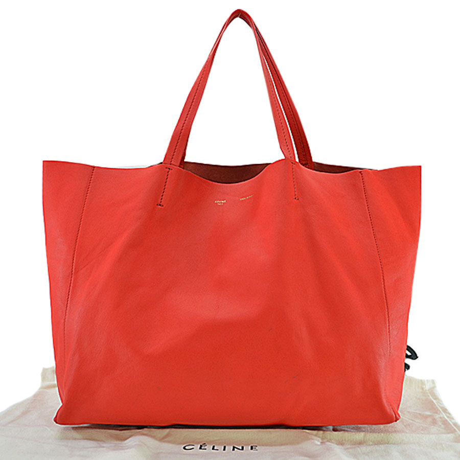 Basic Pority Used Celine Shoulder Bag Tote Lady S Red Leather