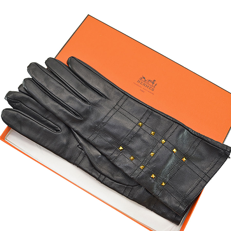 エルメス HERMES 手袋 ブラックxゴールド レザーx金属素材 グローブ レディース 【中古】【おすすめ】 - r6247