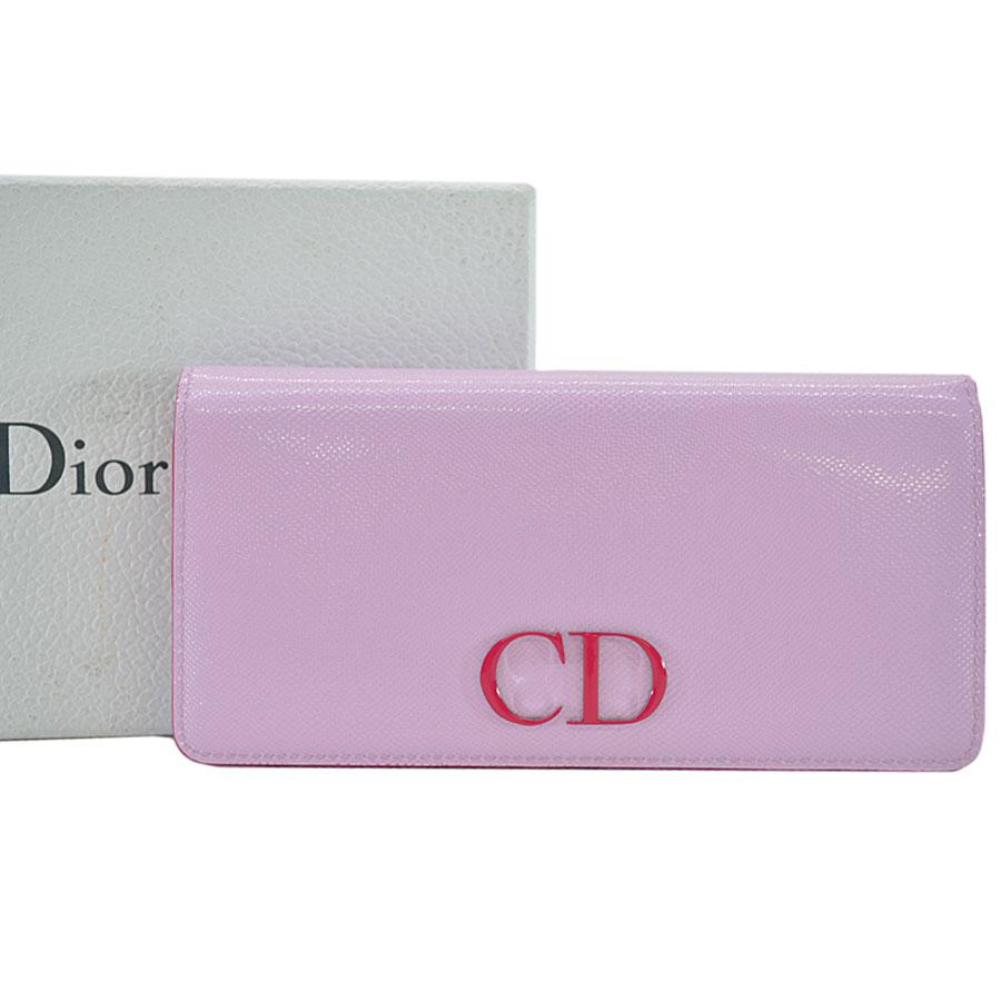 クリスチャンディオール Christian Dior 二つ折り長財布 ピンクxショッキングピンク コーティングレザーxレザー レディース 【中古】【おすすめ】 - r6261