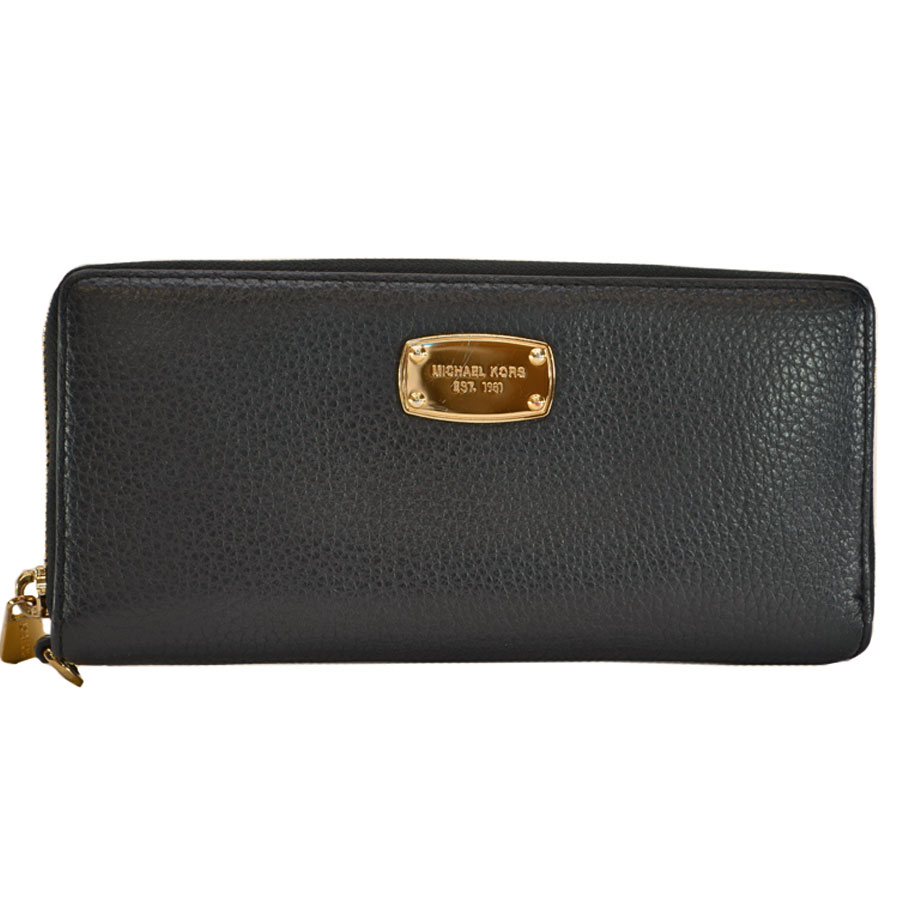 229d2b8a0e8c BrandValue: Michael Kors MICHAEL KORS round fastener long wallet black x  gold leather x metal material Lady's men - r6830 | Rakuten Global Market
