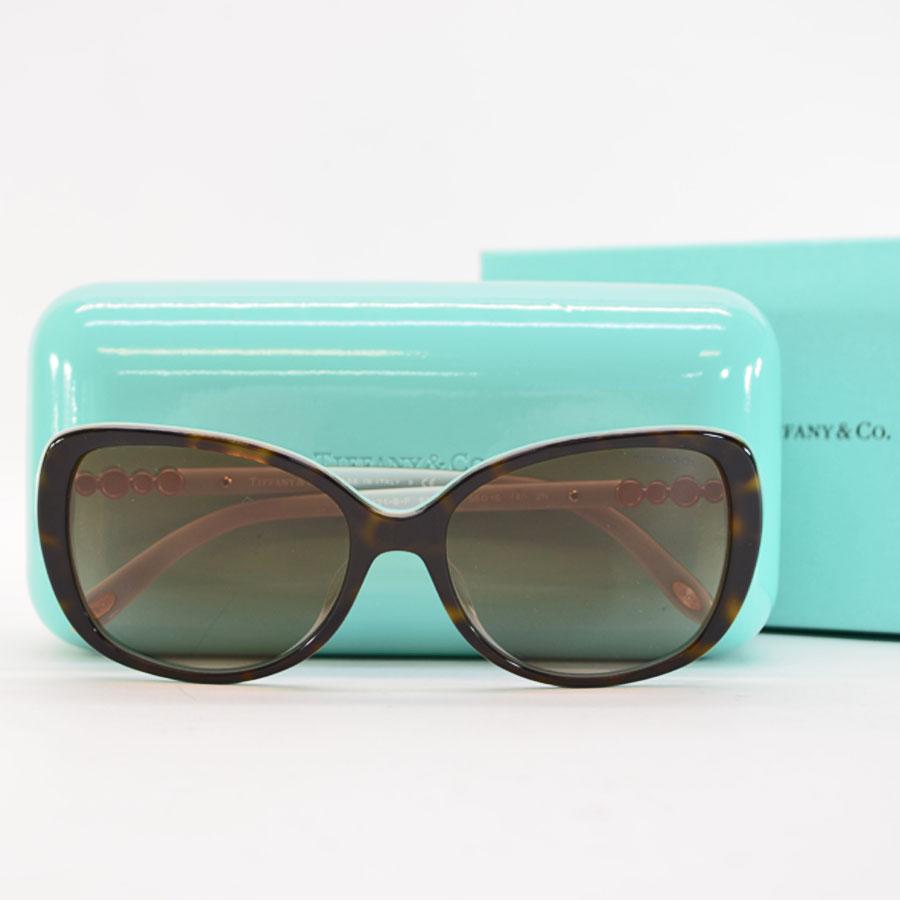 ea2c93bac2bf  basic popularity   used  Tiffany  Tiffany Co.  sunglasses 55 □ 16 140  lady s brown x blue x gold plastic x metal material x stone