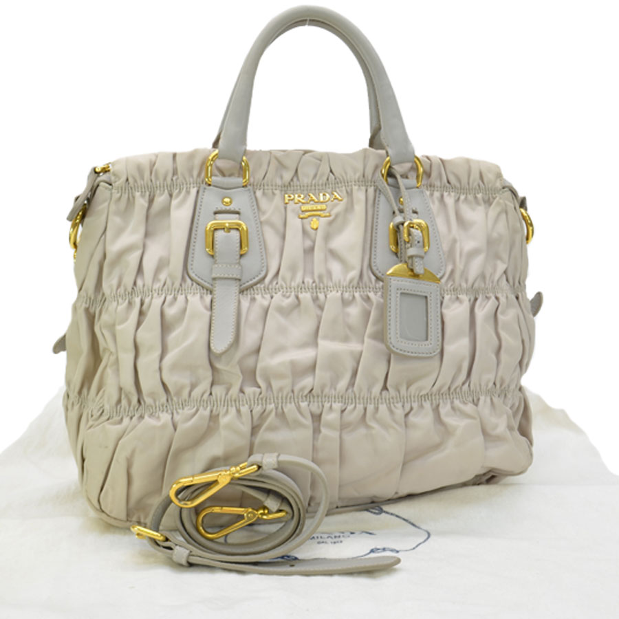 61c8c68ce9a8 BrandValue: Prada PRADA bag gray x gold nylon x leather x metal material  handbag shoulder bag Lady's - r7263 | Rakuten Global Market