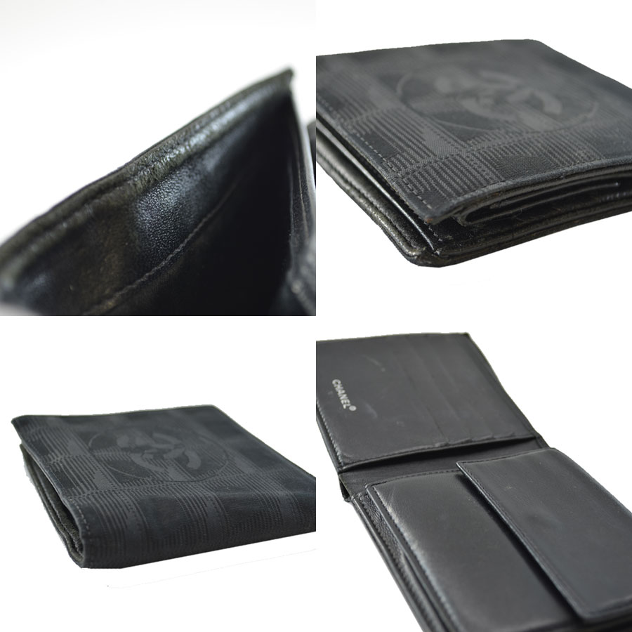 8d4661222fc9fa [basic popularity] [used] Chanel [CHANEL] current style bell line wallet  folio black nylon