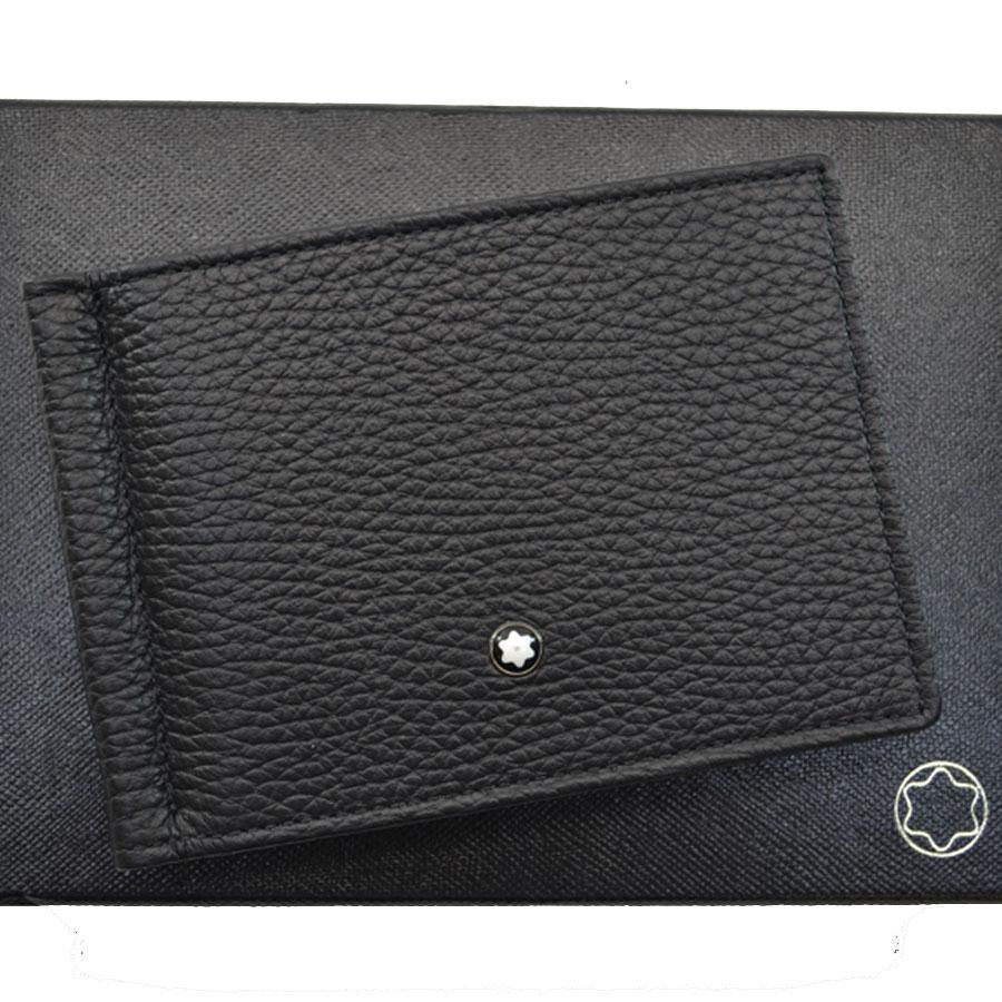 【美品】モンブラン MONTBLANC 二つ折り札入れ ブラック レザー カード入れ メンズ【中古】 - k8044