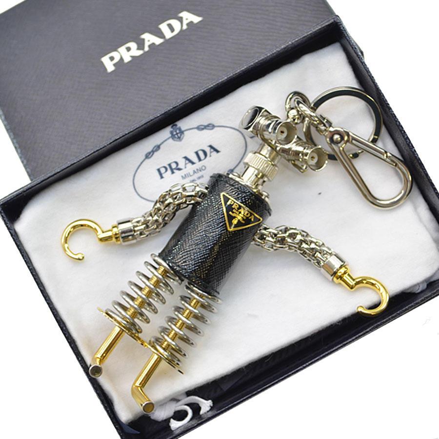 7c72d854d3c4ed It is Prada [PRADA] triangle plate key ring charm key ring Lady's men silver  color x gold-collar x black metal material x leather [soot] [used]