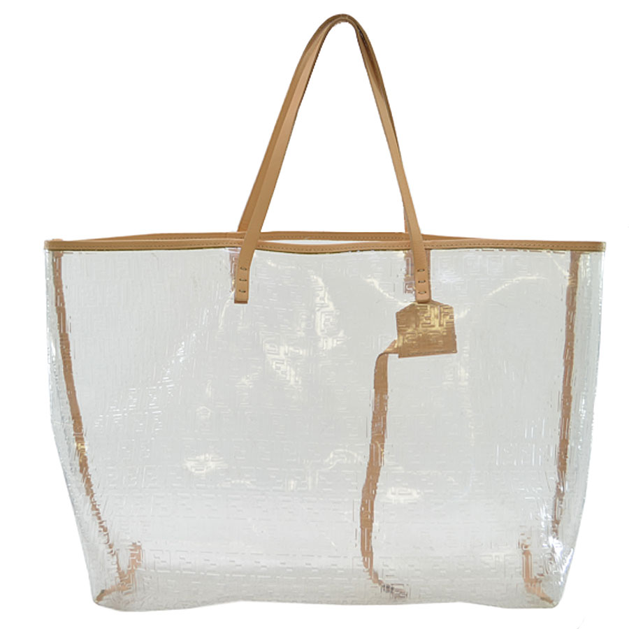 Basic Pority Used Fendi Shoulder Bag Tote Vinyl Lady Clear X Beige Leather