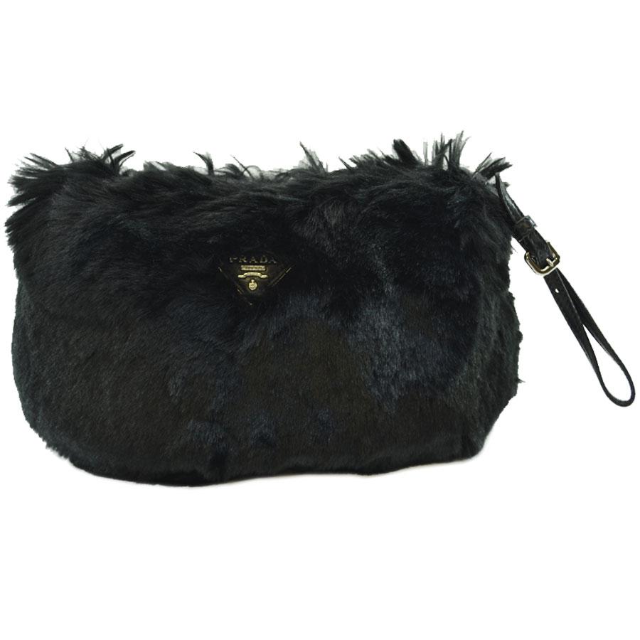 3528b47c038f2e BrandValue: Prada PRADA clutch bag triangle logo plate black fake fur x  leather porch Lady's - k8079 | Rakuten Global Market
