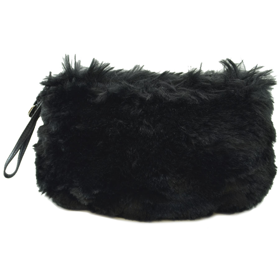 ad29b03b459501 It is Prada [PRADA] triangle logo plate clutch bag porch Lady's black fake  fur x leather [soot] [used]