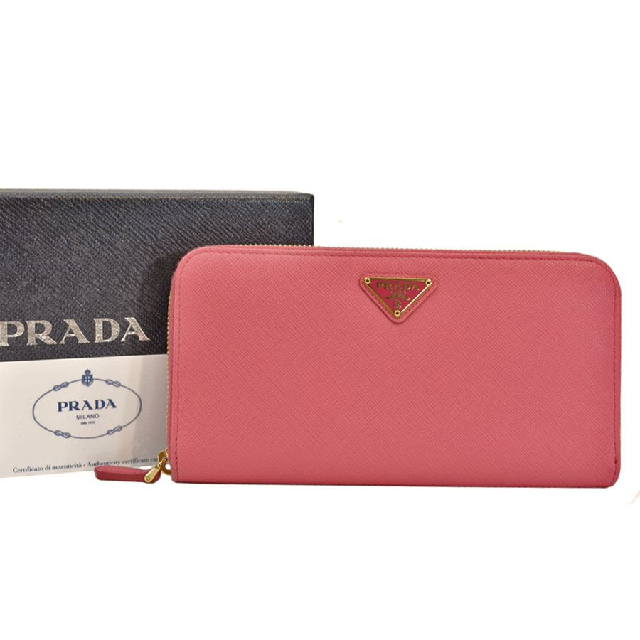 e920aaa92ea  basic popularity   used  Prada  PRADA  triangle logo long wallet round  fastener Lady s pink x ...