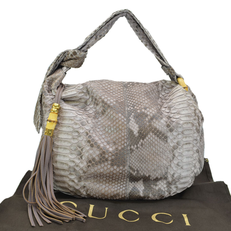 Gucci GUCCI bag bamboo python brown x gold python x leather x metal  material shoulder bag Lady's - r7021