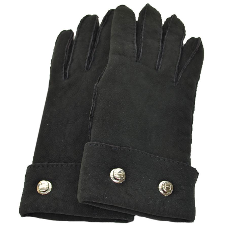 エルメス HERMES 手袋 ブラックxシルバー スウェードx金属素材 グローブ レディース 【中古】【定番人気】 - r7146