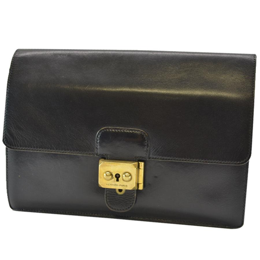 e531c92d4c8b Hermes  HERMES  clutch bag second bag men black x gold leather  used   constant seller popularity