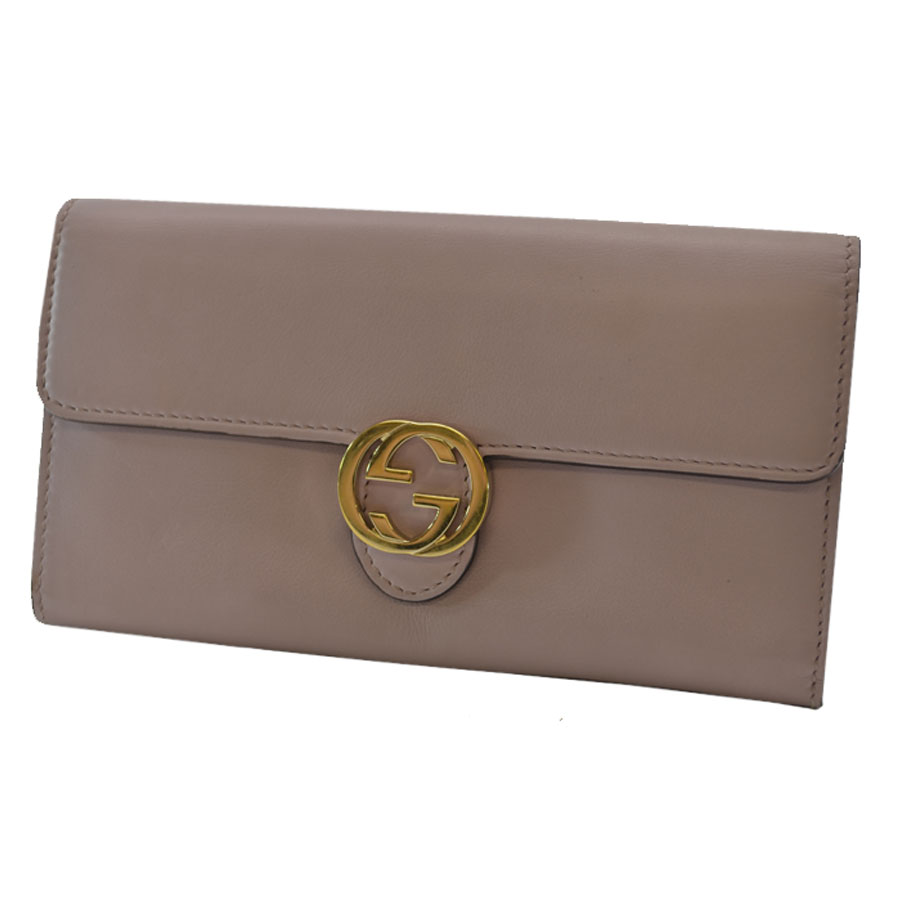 Gucci GUCCI long wallet double G ◆ purple x gold leather ◆ constant seller popularity ◆ Lady's - k7059