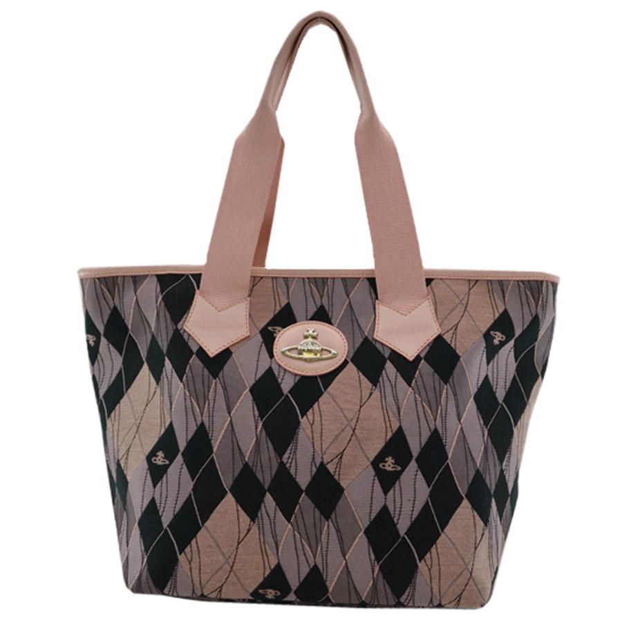5d6a9b30be BrandValue: Vivien waist Wood Vivienne Westwood tote bag ◇ pink x black x  silver color canvas x metal material ◇ recommended shoulder bag Aube ◇  Lady's ...