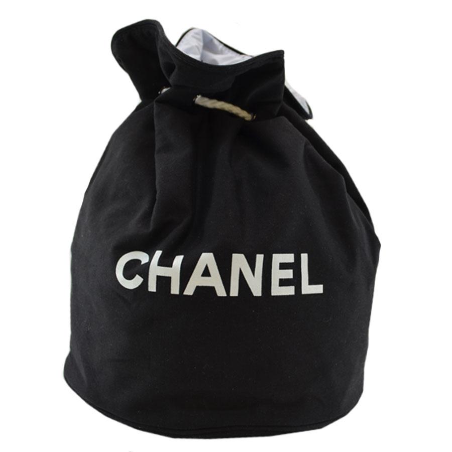 e3ecc83dca36 Chanel  CHANEL  shoulder bag drawstring purse bag beach bag Lady s black x  white canvas x nylon vinyl  used  novelty