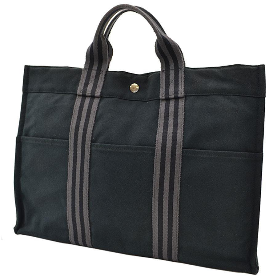 Basic Pority Used 100 Of Hermes Fool Toe Mm Tote Bag Handbag Lady S Men Black X Gray Cotton