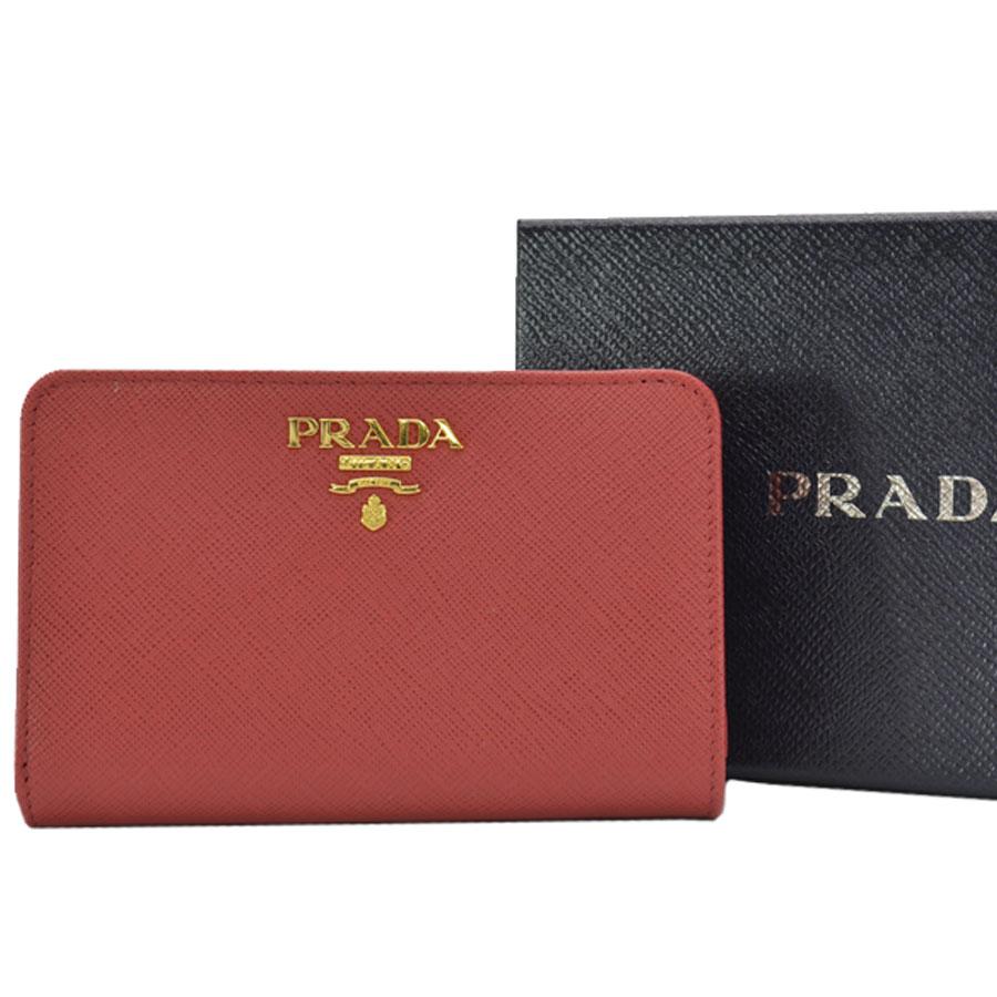 プラダ PRADA 財布 レッドxゴールドカラー レザーx金属素材 二つ折り レディース 【中古】【定番人気】 - k9251