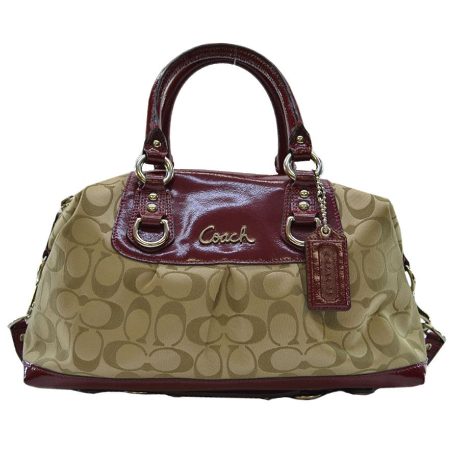 Brandvalue Coach Handbag Signature Bordeaux X Beige Canvas Patent Leather Recommended Shoulder Bag 2way Lady S K7799 Rakuten Global