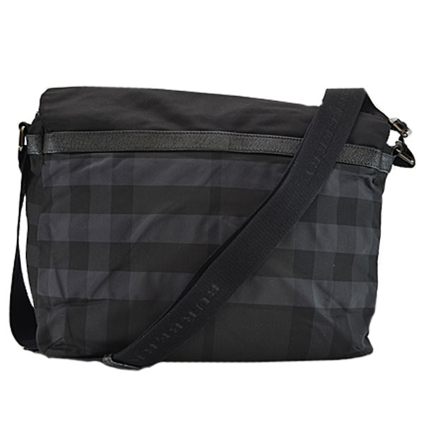 9b34cd7df04a  basic popularity   used  take a Burberry  BURBERRY  shoulder bag slant  lady s  men s black nylon x leather