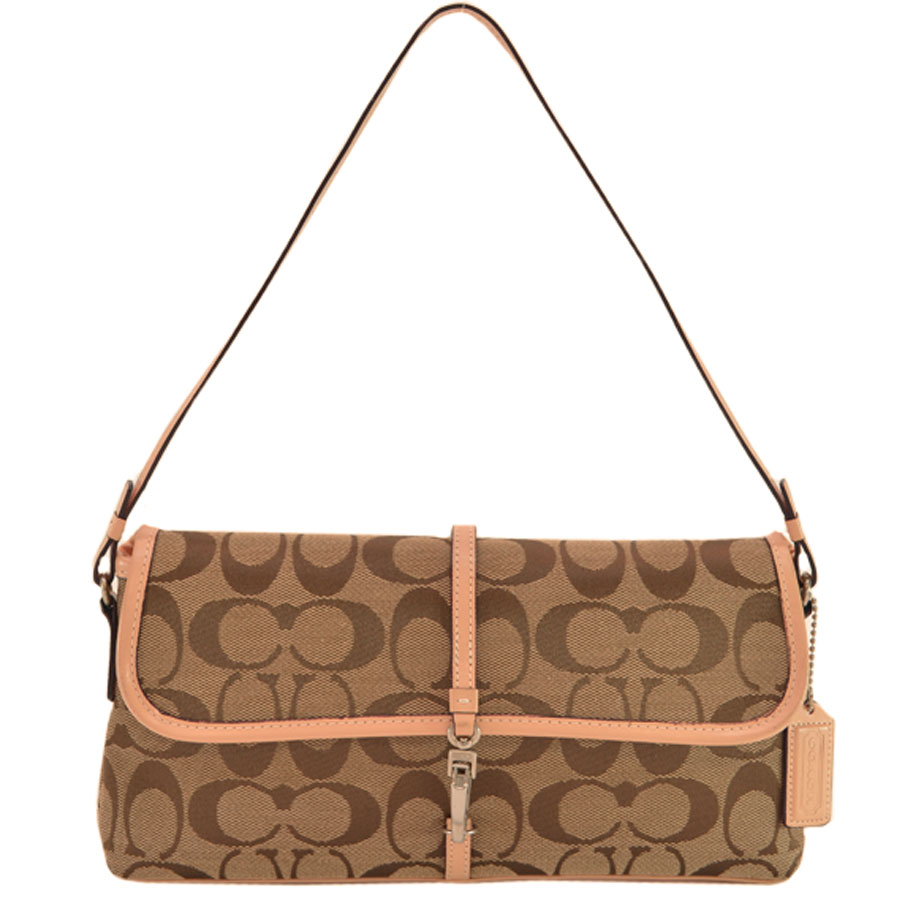 Coach Mini Shoulder Bag Signature Beige X Brown Canvas Leather Lady S K8757