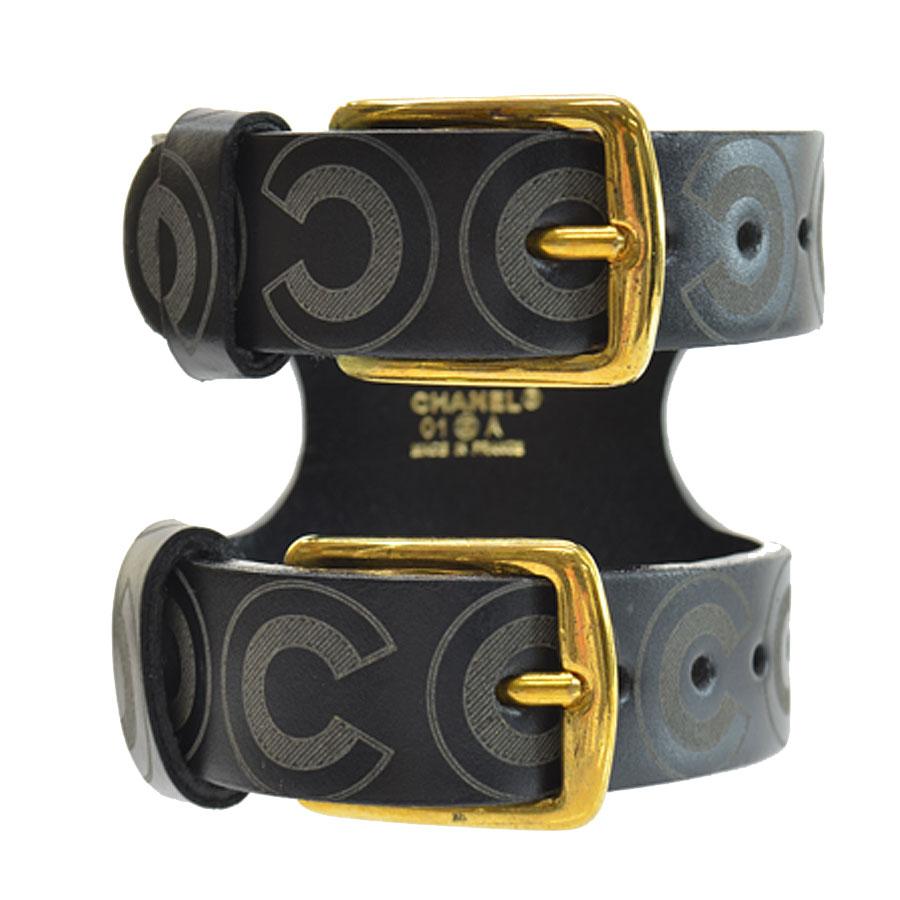【中古】【おすすめ】 r8076f ブラックxダークグレーxゴールド メンズ レザーx金属素材 CHANEL - シャネル レディース ブレスレット バングル