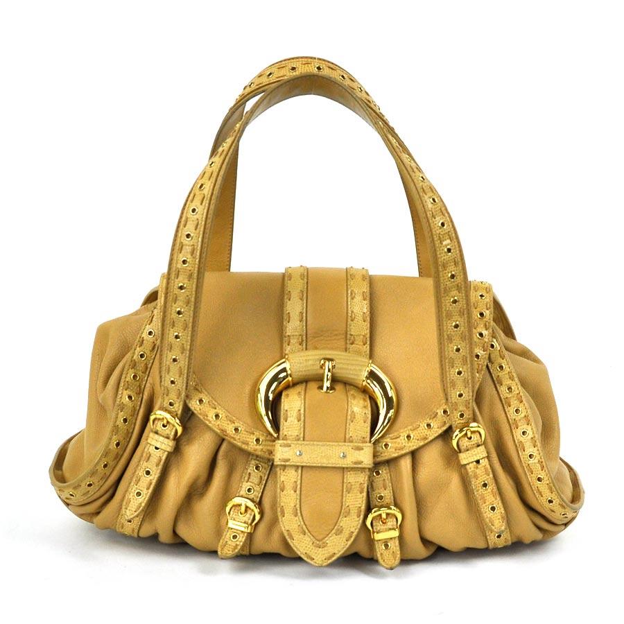 クリスチャンディオール Christian Dior ハンドバッグ ◆ライトブラウン レザー◆定番人気【中古】 ◆レディース - x1818