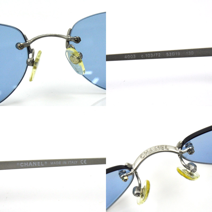 a71f122c12 Chanel CHANEL sunglasses 53 □ 19 130 here mark ◆ lens: Blue frame & temple:  Silver x black plastic ◆ constant seller popularity ◆ Lady's men - ...