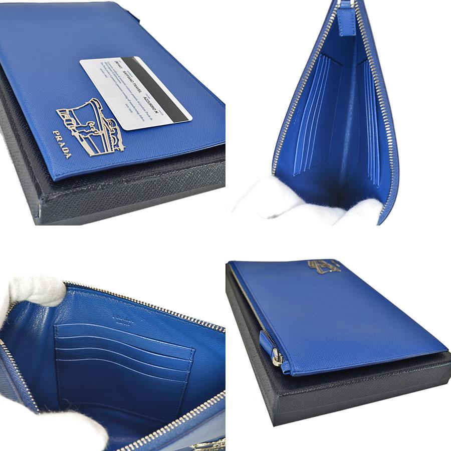 新品同様 プラダ PRADA バッグ ライトネイビーxシルバー レザーx金属素材 クラッチバッグ マルチケース レディースc4Rj3AL5q
