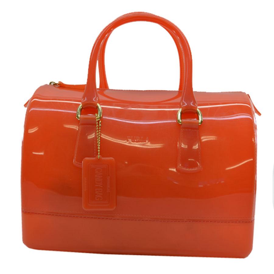 フルラ FURLA ハンドバッグ キャンディ ◆オレンジ PVC◆定番人気【中古】 ◆ - k7258