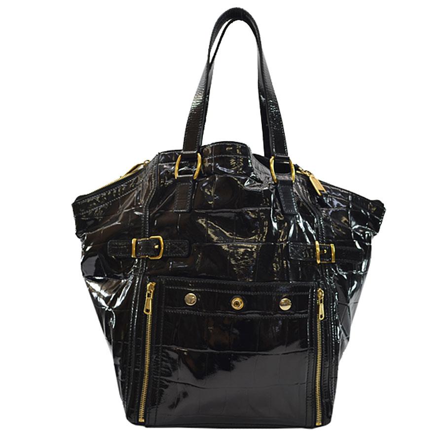イヴサンローラン YVES SAINT LAURENT ハンドバッグ ◆ブラックxゴールドカラー パテントレザーx金属素材◆定番人気【中古】 ◆レディース - k7858
