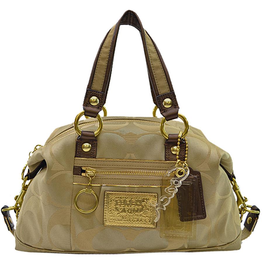 f612cbd0 Coach COACH handbag signature POPPY poppy ◆ gold-collar x brown (bronze)  canvas x leather x metal material ◆ constant seller popularity shoulder bag  ...
