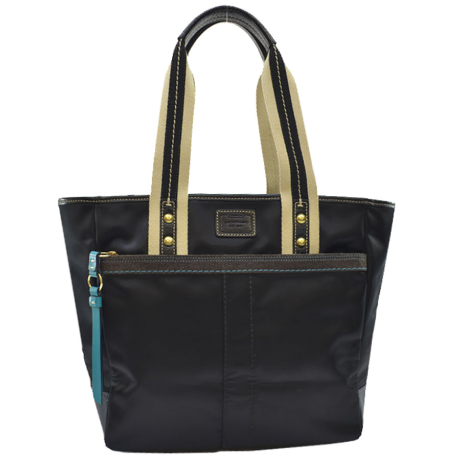 ... czech coach coach signature handbag tote bag ladys navy nylon x leather  x suede used constant c0cdc140afd48
