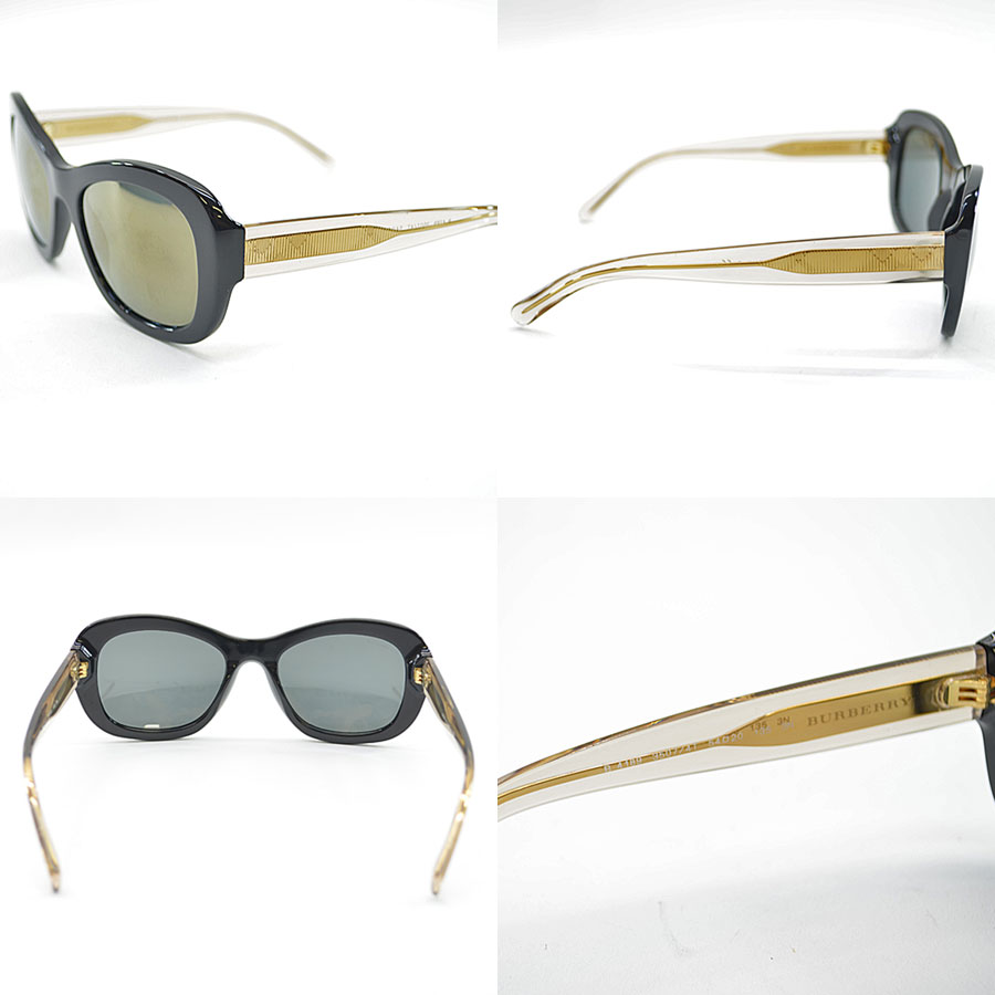 537a8f3d0468 A Burberry [BURBERRY] sunglasses 54 □ 20 135 lady's men's lens: Black frame  & temple: There is black x clear x gold-collar plastic [used] reason