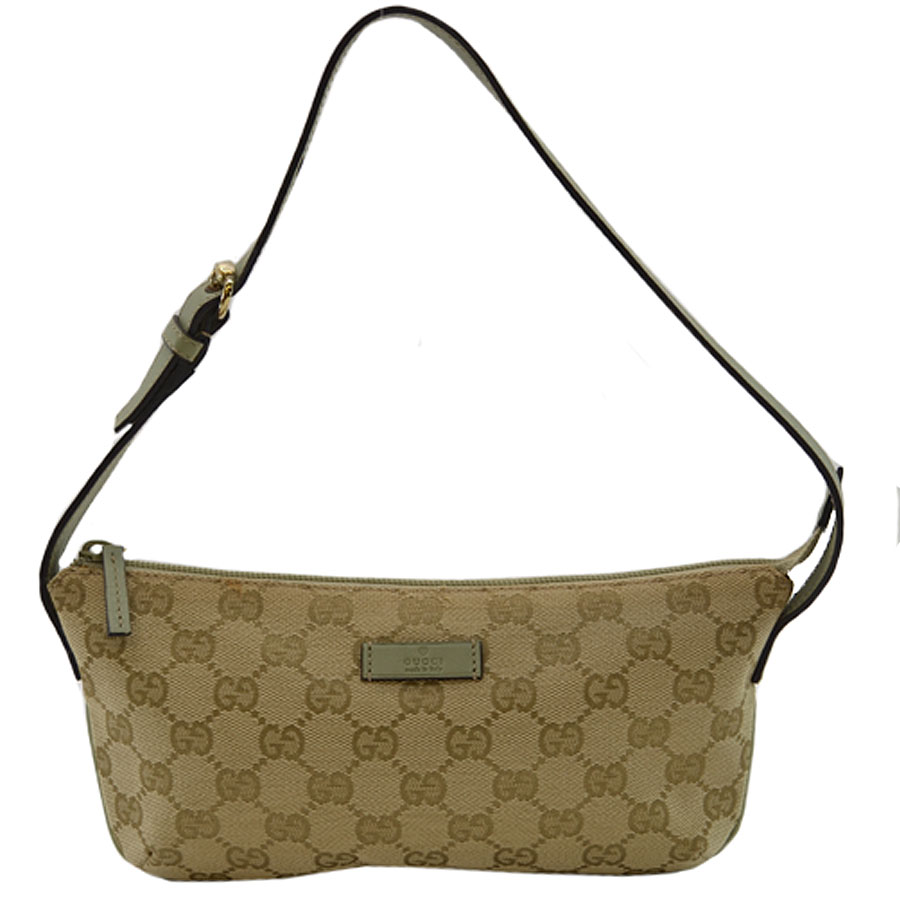 87c8f1a3349b Canvas x leather [used] constant seller popularity of Gucci [GUCCI] GG  accessories porch mini-handbag Lady's beige x Green line