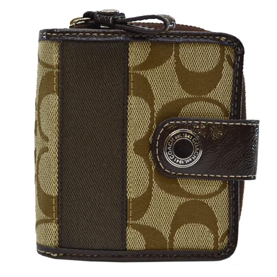 98e691bd3865a BrandValue: Coach COACH wallet signature beige x dark brown canvas x patent  leather folio Lady's - k7962 | Rakuten Global Market