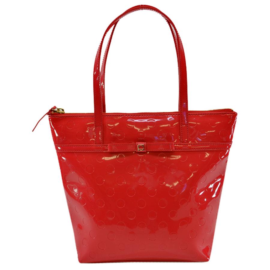 Brandvalue Kate Spade Handbag Red System X Gold Collar Patent Leather Metal Material Constant Er Pority K7309 Rakuten