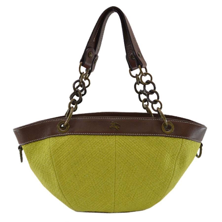 Brandvalue Burberry Blue Label Bluelabel Handbag Yellow Green X Brown Hemp Leather Constant Er Pority Lady S K7392 Rakuten