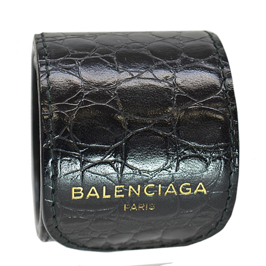 バレンシアガ BALENCIAGA ブレスレット バングル ブラックxゴールドカラー レザー レディース 【中古】【おすすめ】 - 52134a