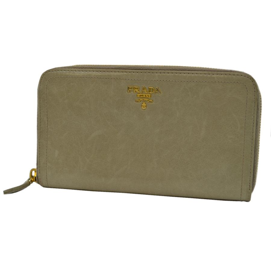 プラダ PRADA 長財布 ◆カーキグレーxゴールドカラー レザーx金属素材◆定番人気ラウンドファスナー ◆レディース【中古】 - k7914