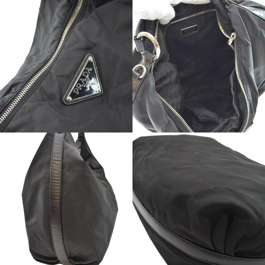 42363537f1ce  basic popularity   used  a Prada  PRADA  triangle plate shoulder bag  Lady s NERO (black) x silver Karana irone x leather x metal material